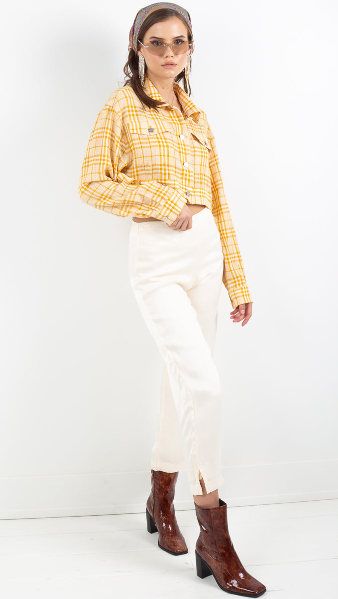 Capulet yellow/white plaid crop jacket