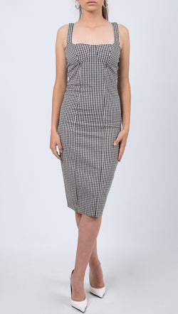 Capulet Black and White Gingham Print Midi Dress