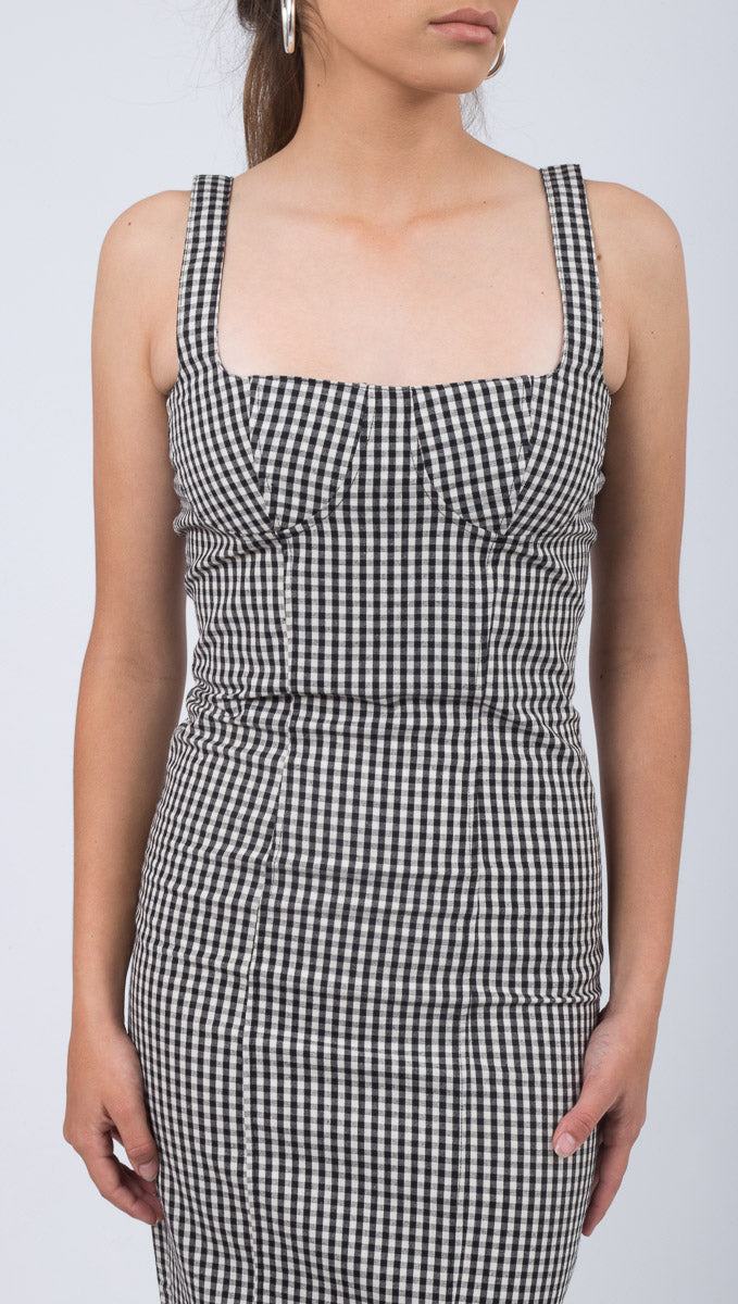 Lola Bustier Bodycon - Black Gingham