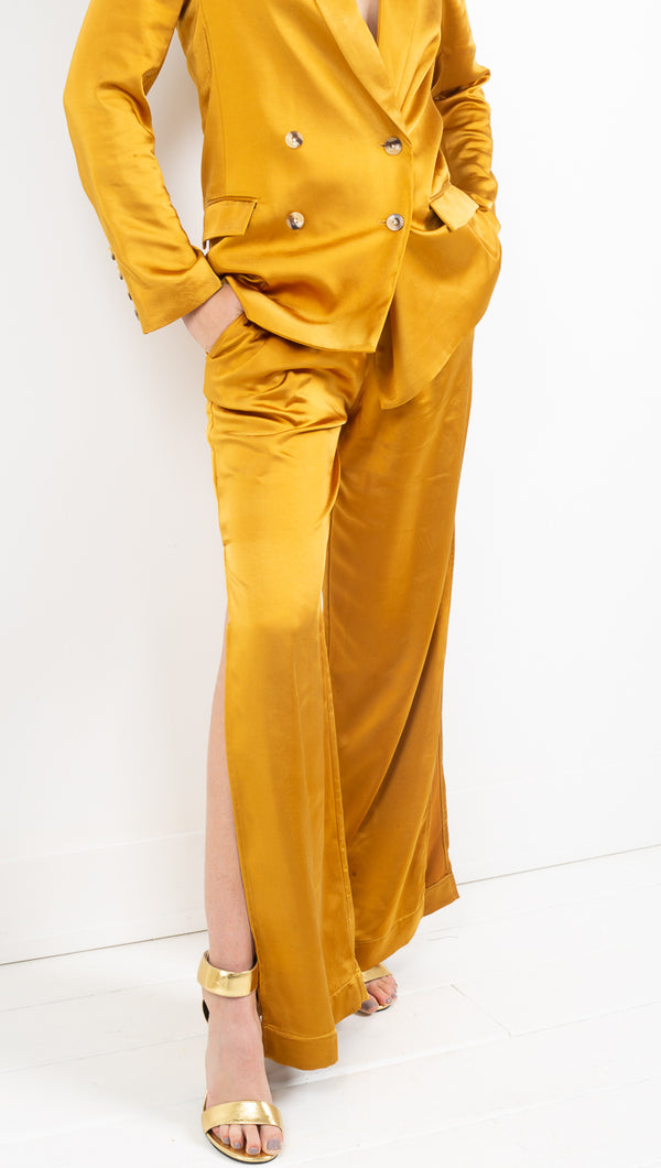 Capulet mustard yellow silky trouser pant with high side slit