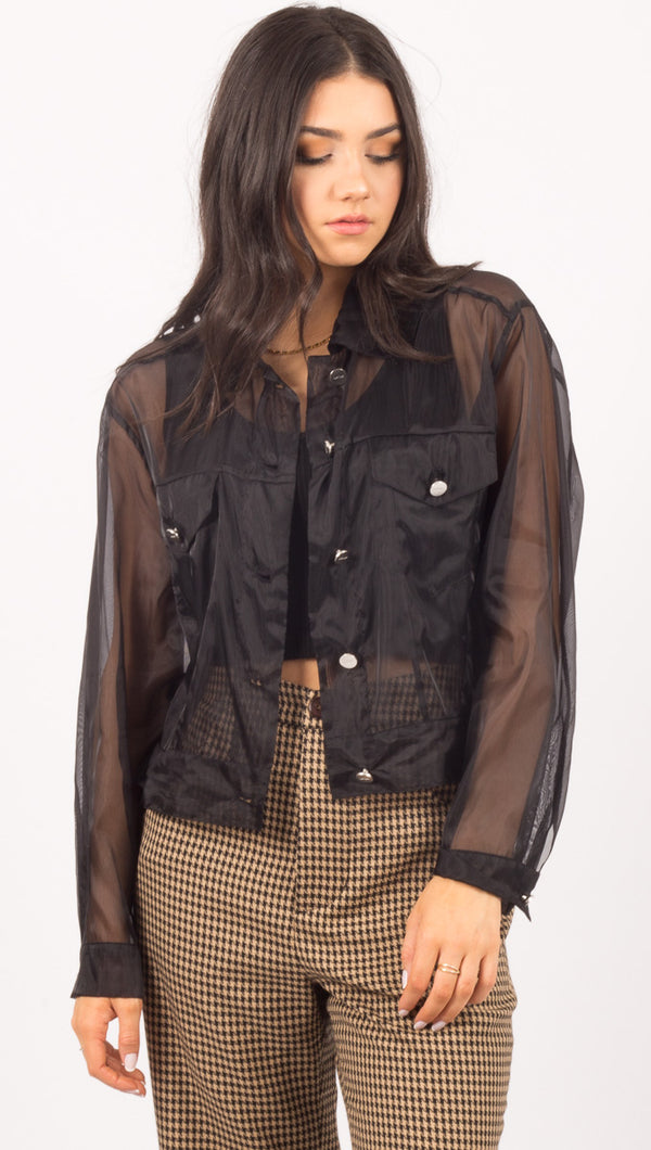 Capulet Sheer Black Button Down Shirt