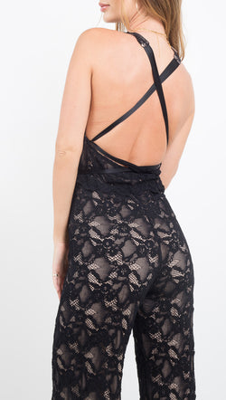 Nightcap black lace jumpsuit with plunging neckline