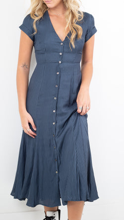 Capulet navy/white striped short sleeve midi button down dress