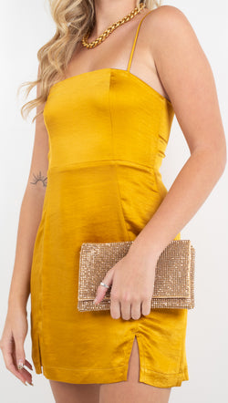 Capulet mustard yellow silky mini dress with adjustable straps