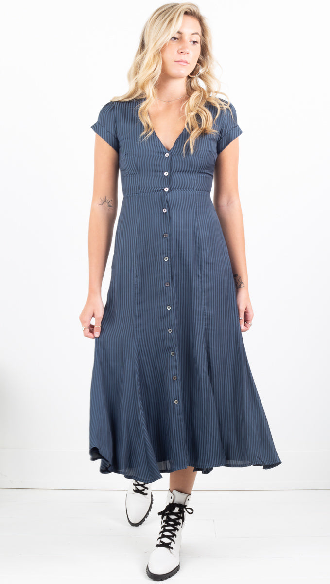 Elie Dress - Navy Stripe Jacquard