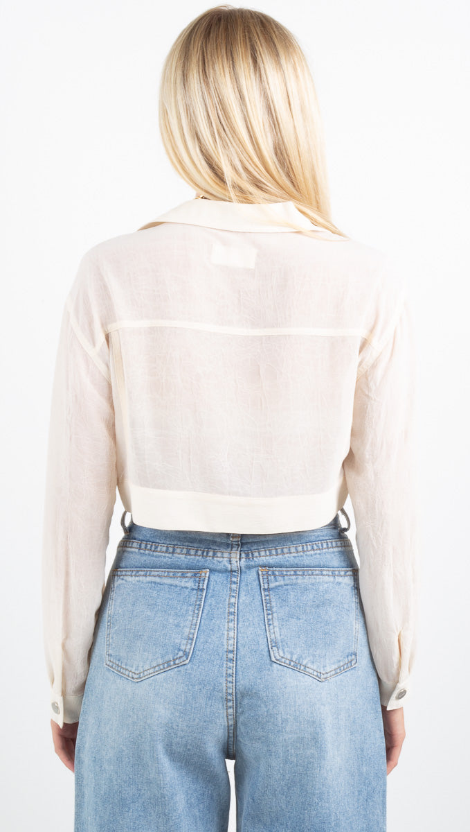 Belle Cropped Trucker Jacket - Pearl
