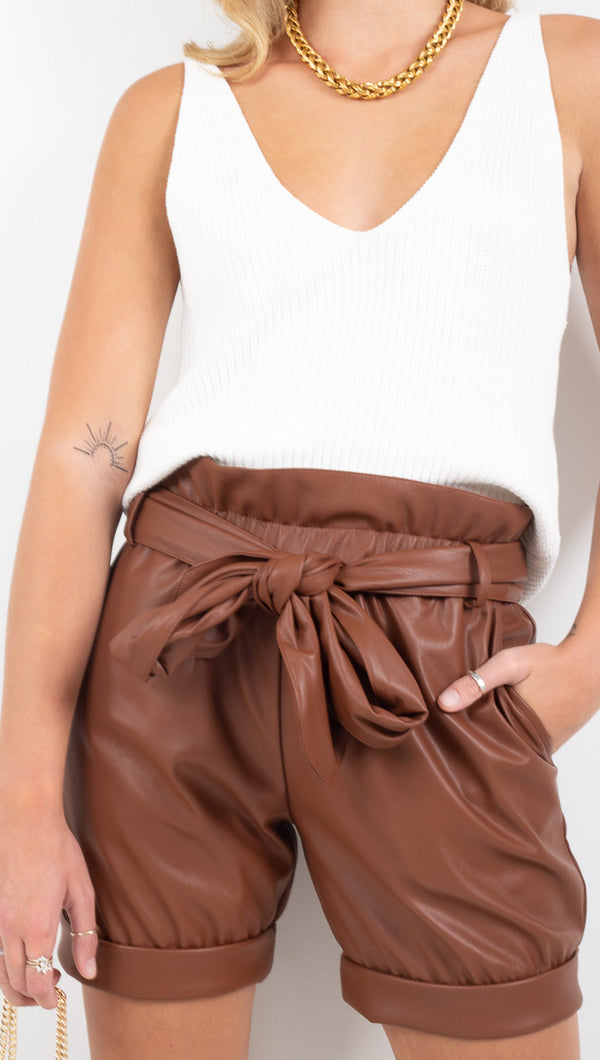 Cheyma brown vegan leather long shorts with thick waist tie