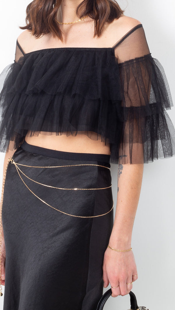 Cheyma Black Ruffled Tulle Crop Top