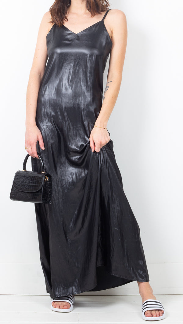 Cheyma Metallic Black Maxi Silky Slip Dress