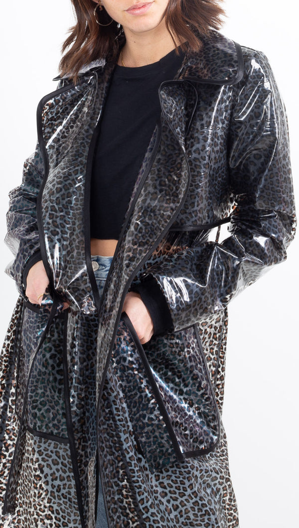 Cheyma sheer black leopard print trench coat with exaggerated collar