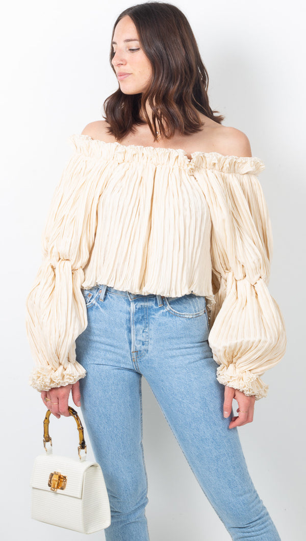 Summer Haze Blouse - Dusty White