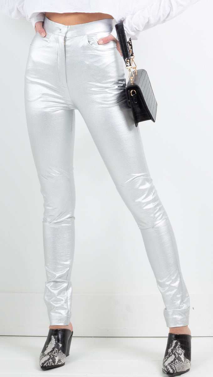 Cheyma silver metallic pant with heart knee patches