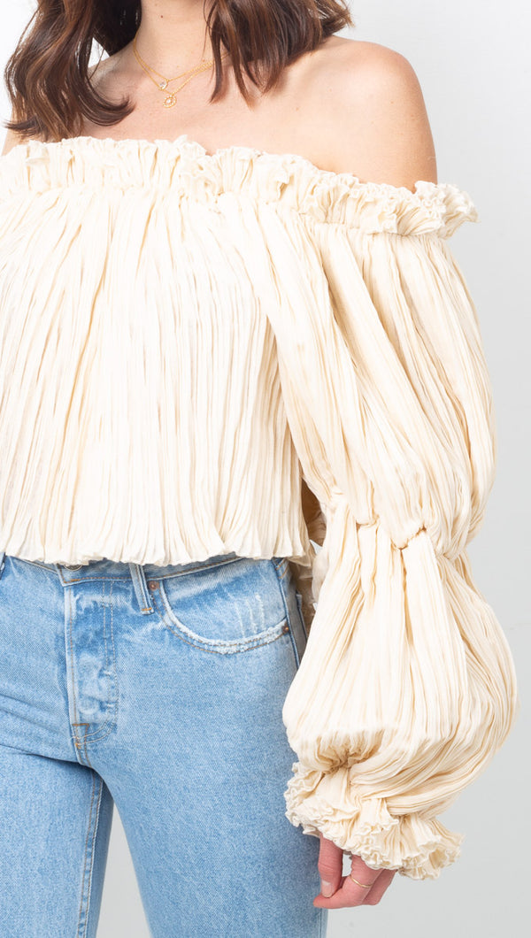 Chyema Ivory Off The Shoulder Pleated Blouse with Puffed Sleeves