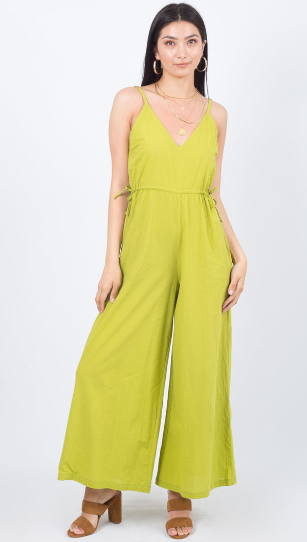 Cleobella Citrus Colored Wide Legged Tie Jumpsuit With Pockets