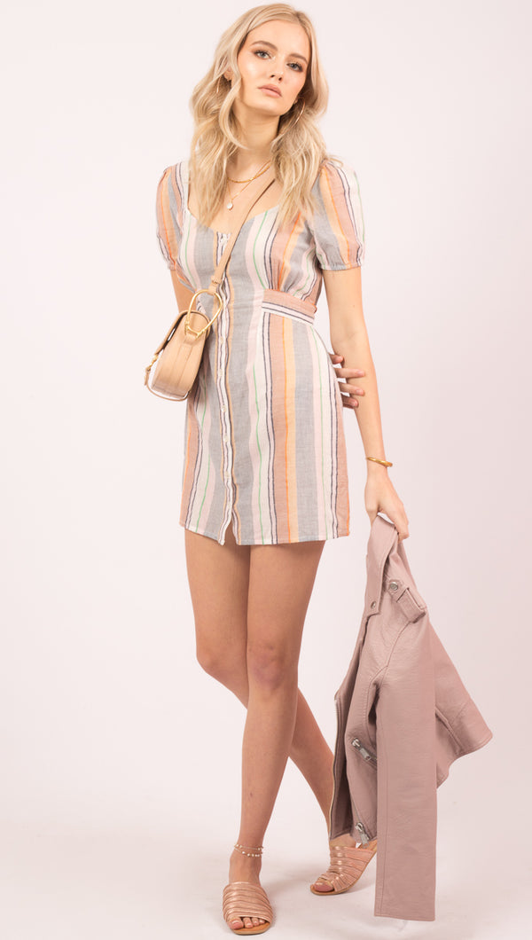 Cleobella Striped Short Sleeve Button Down Mini Dress