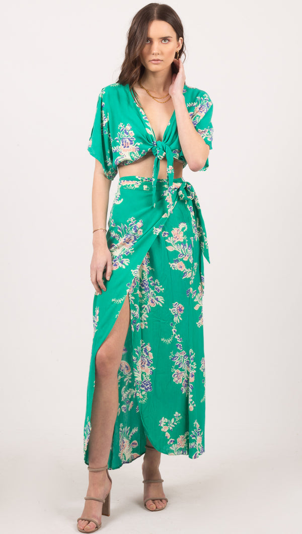 Cleobella Green Floral Wrap Maxi Skirt With Slit