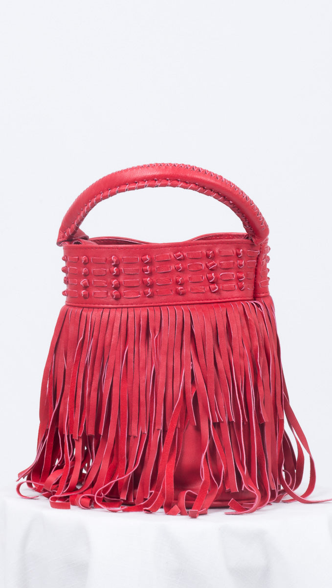 Cleobella Red Leather Fringe Bucket Bag