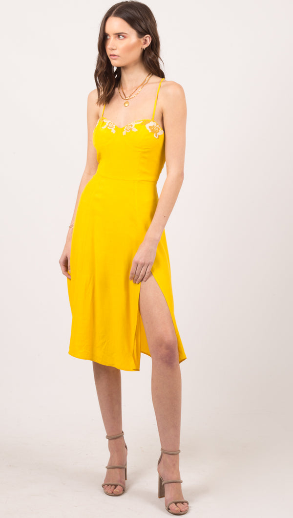Cleobella Yellow Tank Midi Dress With Embroidered Neckline