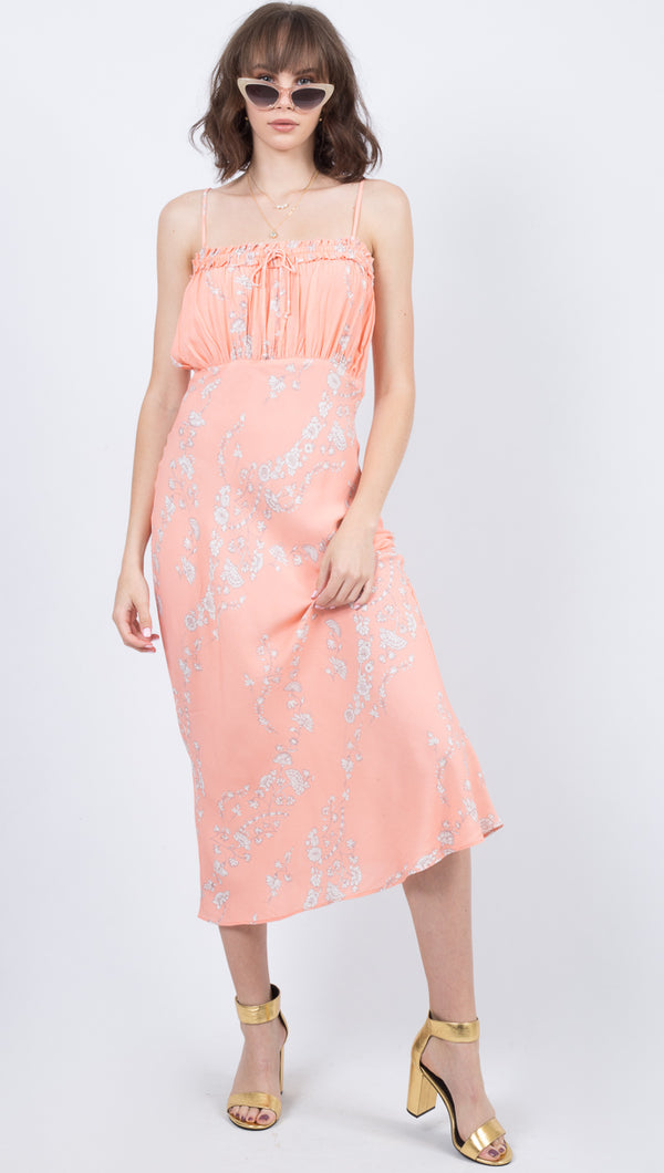 Cleobella Pink Floral Ruched Top Midi Dress
