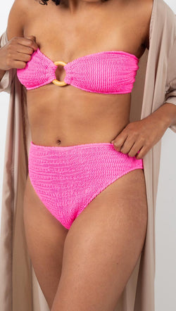 Cleonie Swim Hot Pink Crinkle High Rise Bikini Bottoms