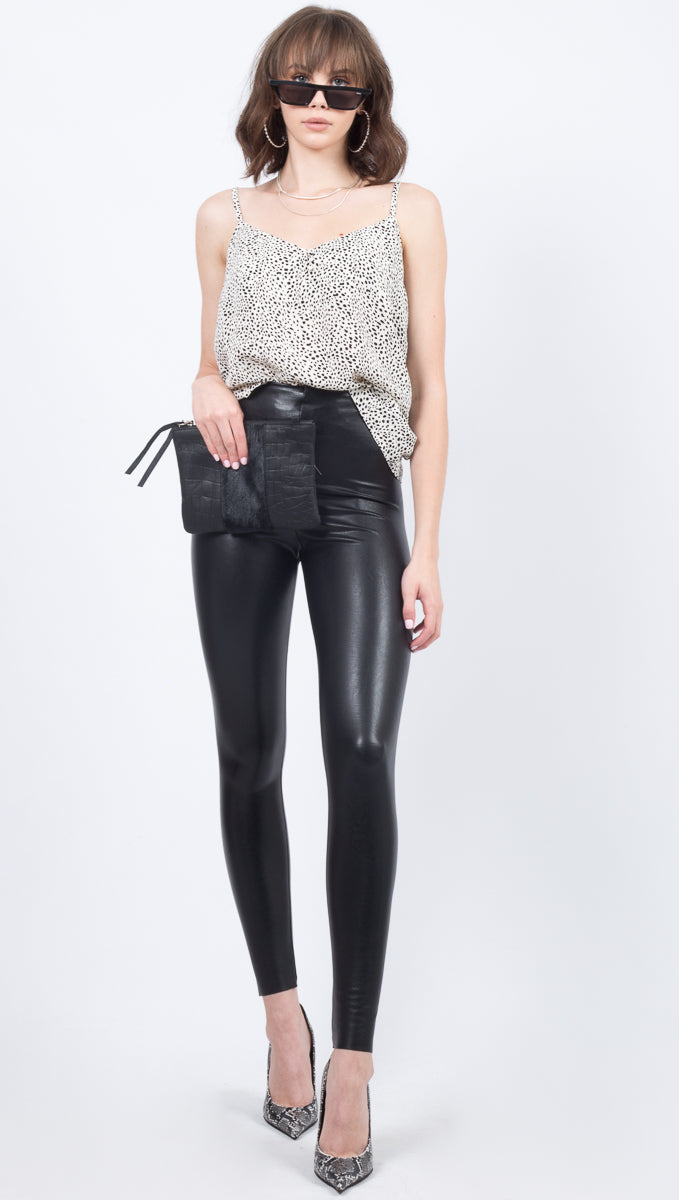 Commando Black Faux Leather High Waisted Leather Leggings