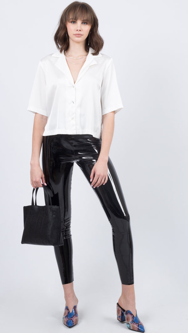 Faux Patent Leather Leggings - Black