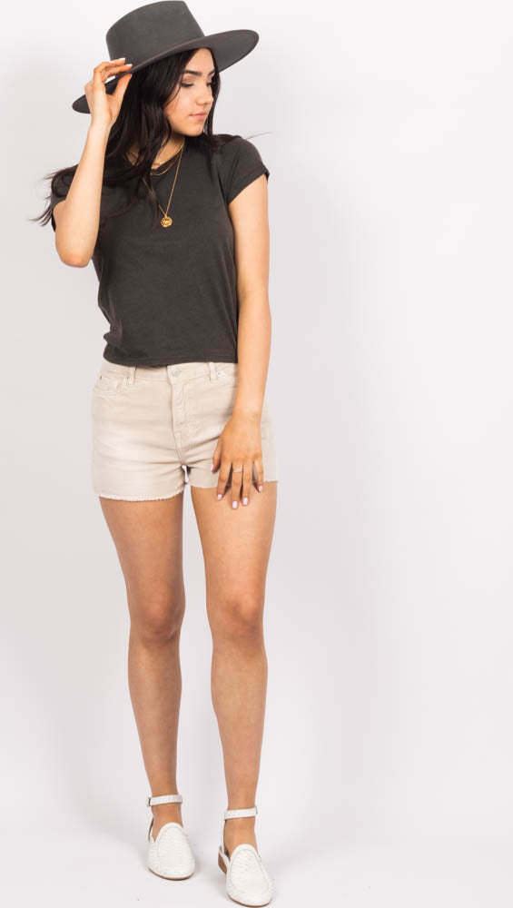 Beige Corduroy High Waist Shorts