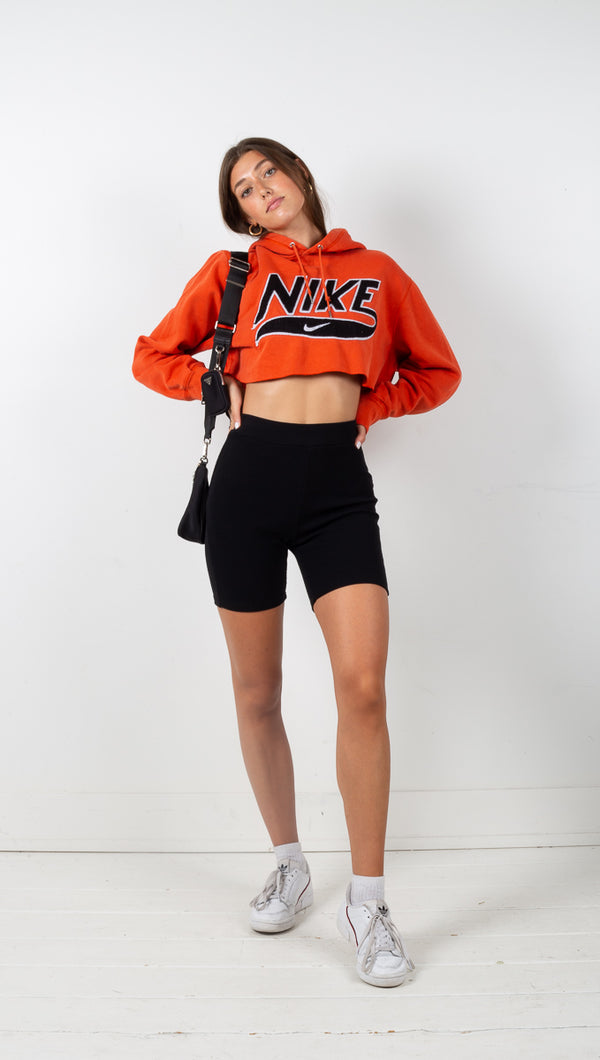 Vintage Cropped Nike Hoodie - Orange