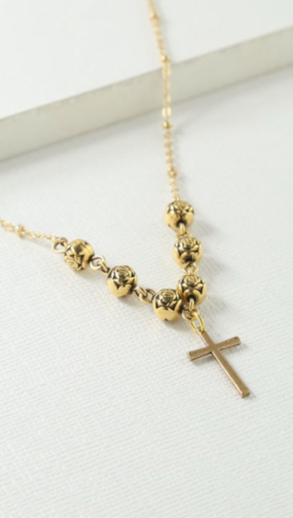 Gold Rosary Cross Necklace