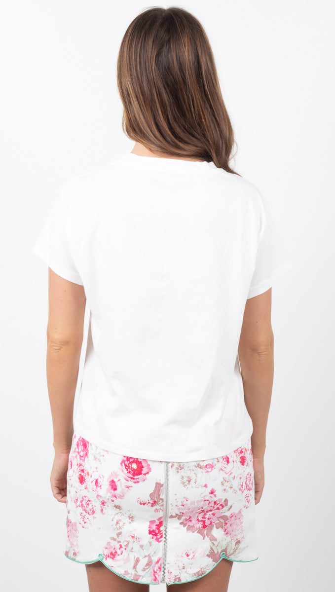 Beverly Hills Girlfriend Tee - Vintage White