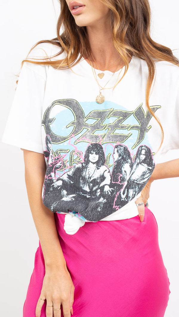 Daydreamer white neon Ozzy Osbourne graphic tee
