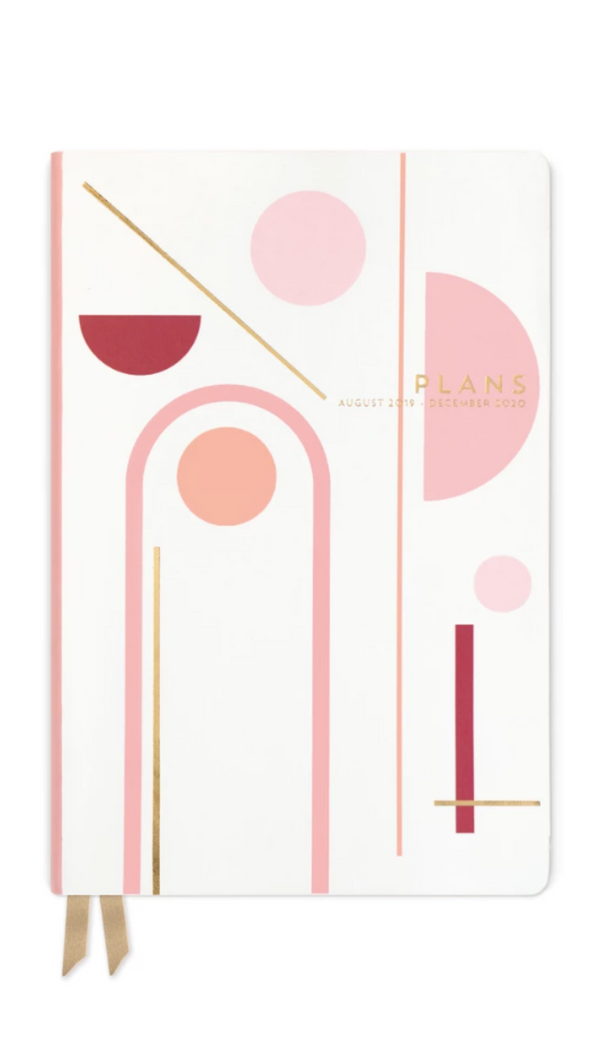 Design Work pink/white leather planner