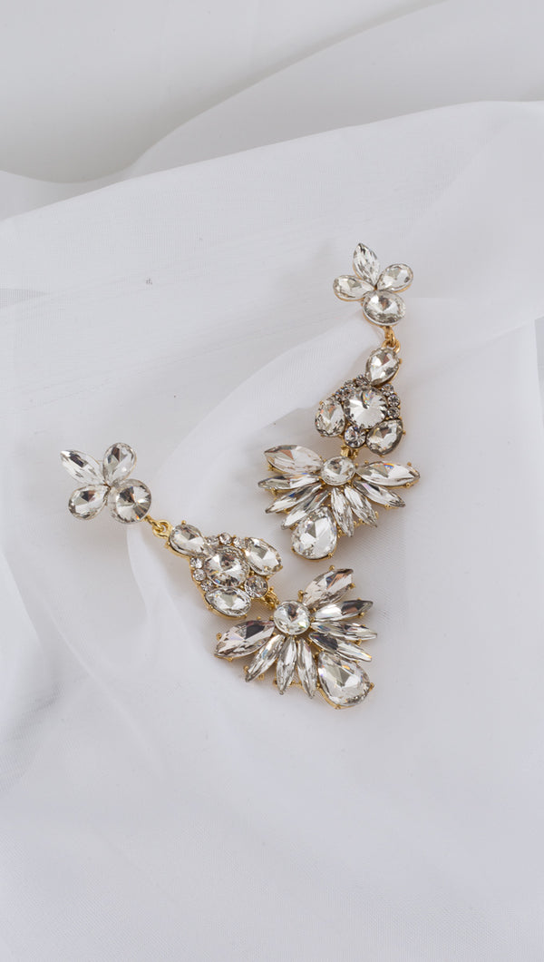 Abstract Flower Statement Earrings - Gold/Crystal