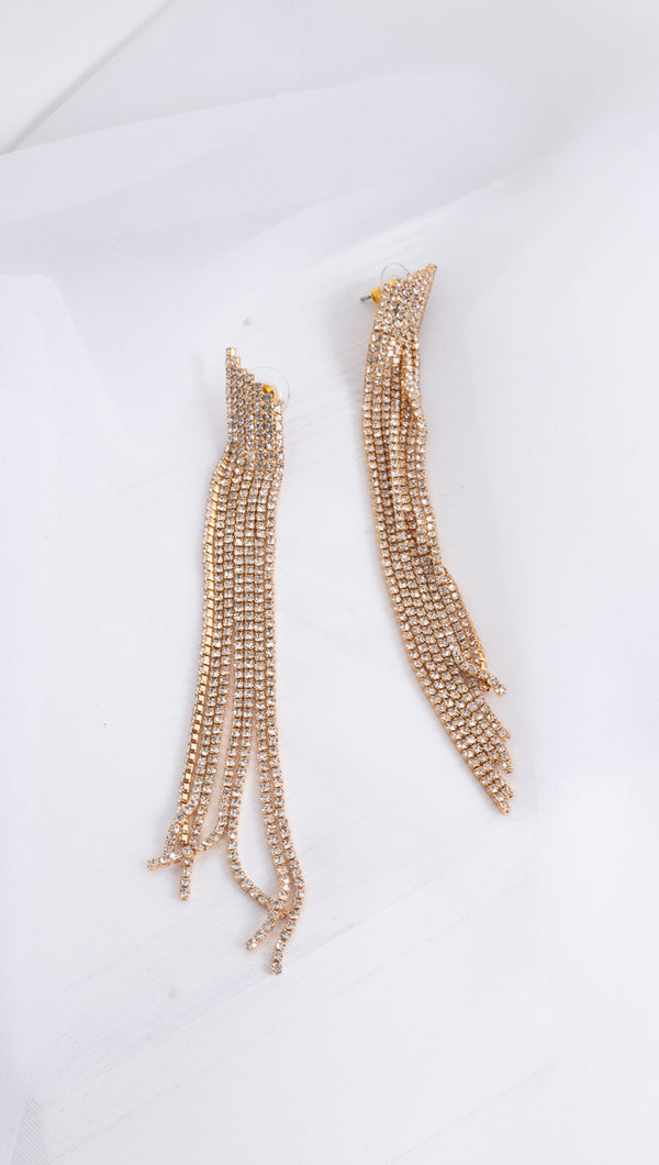 Asymmetric Dangling Crystal Earrings - Gold Plated