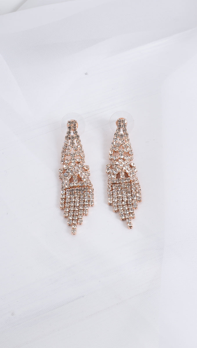 Princess Dangling Earrings - Rose Gold