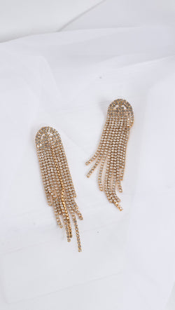 Tati Crystal Dangling Earrings - Gold