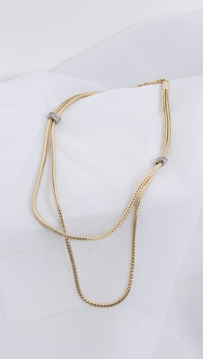 Braided Double Layered Necklace - Gold Plated