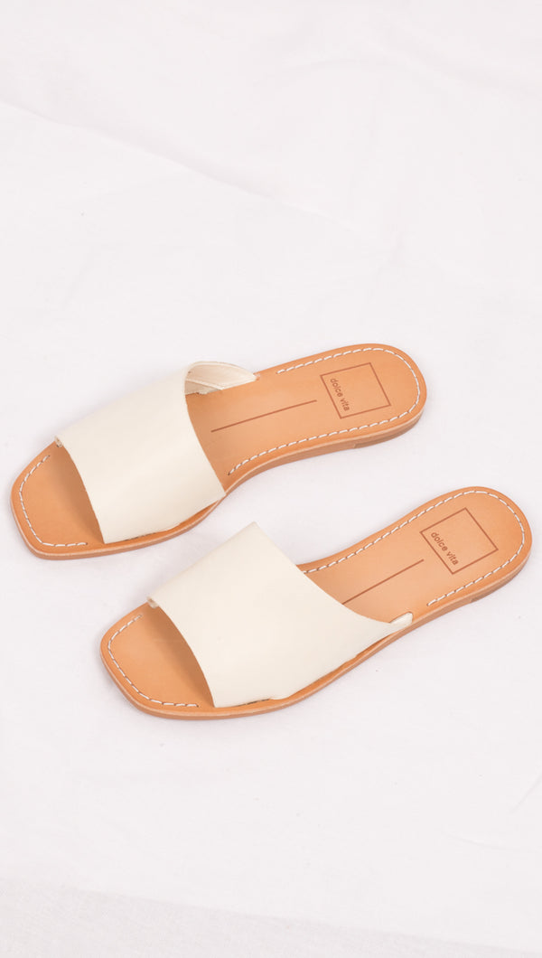 Off White Leather Sandals