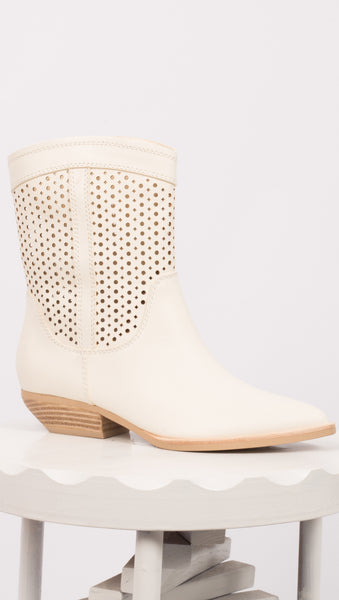 White Perforated Leather Cowboy Boots