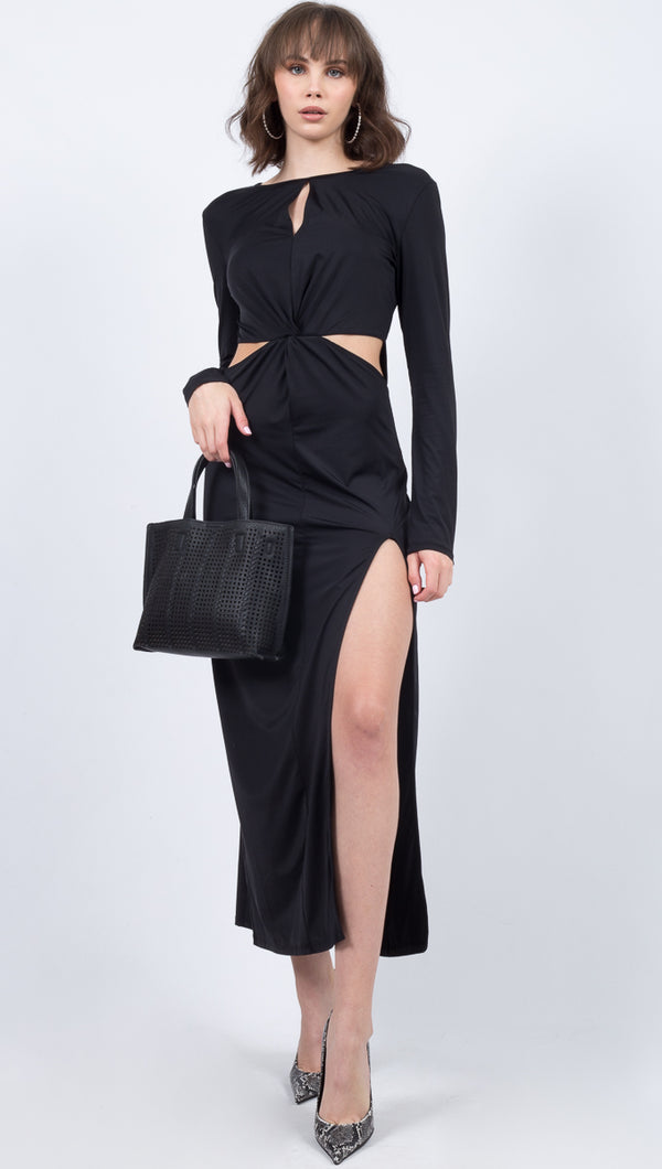 Donna Mizani Black Long Sleeve Cutout Maxi Dress With Slit