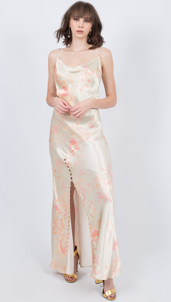 Donna Mizani Ivory Floral Silky Tank Maxi Dress With Slit