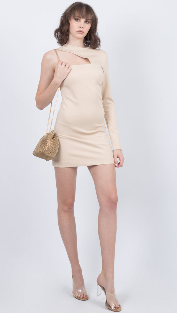 Donna Mizani Beige One Shoulder Bodycon Mini Dress