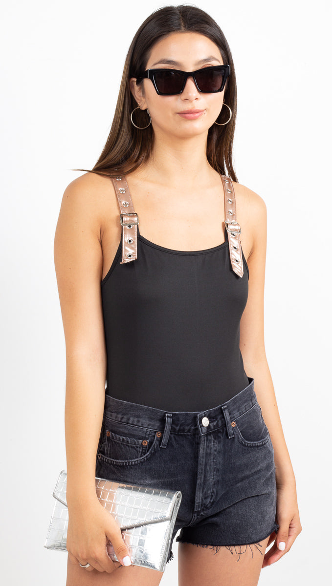 Buckle Up Jersey Bodysuit - Black