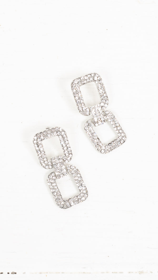Remy Crystal Statement Earrings - Silver