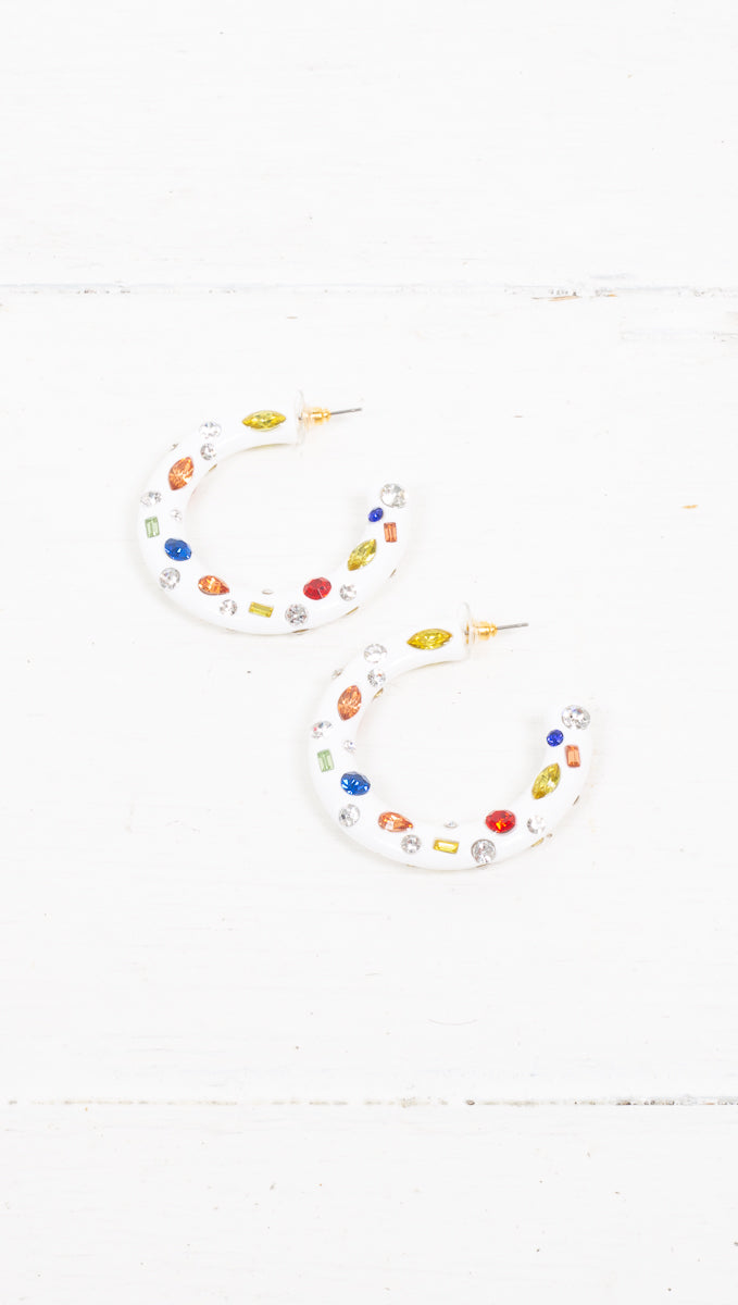 Party Time Earrings - White/Multi