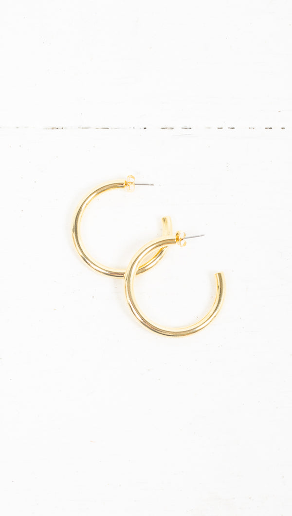 Simple Everyday Detached Hoops - Gold