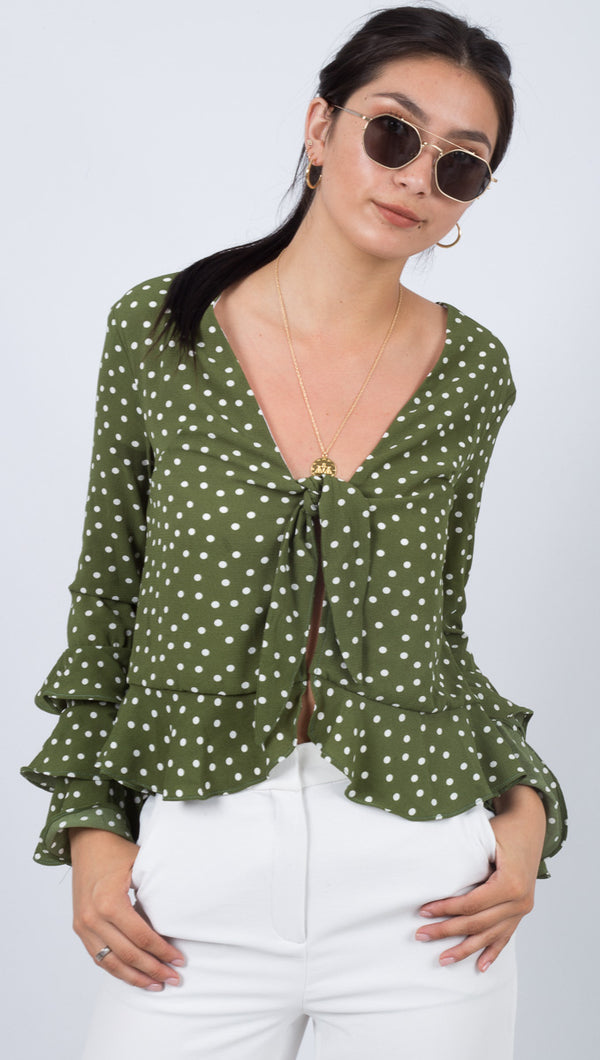 Gwyneth Top - Green Polka
