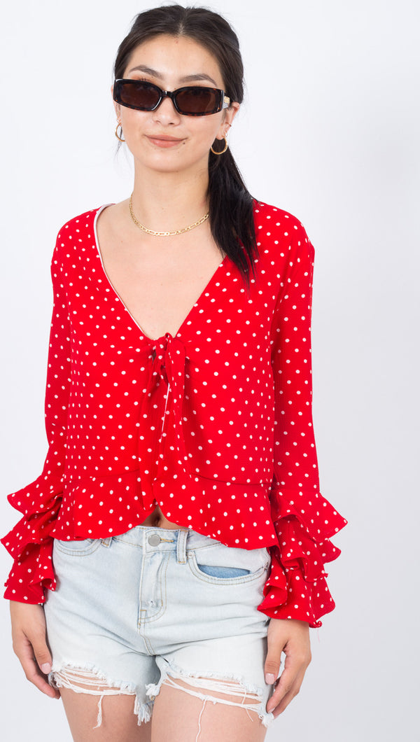 Gwyneth Top - Red Polka