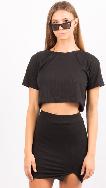 Black Crop Tshirt