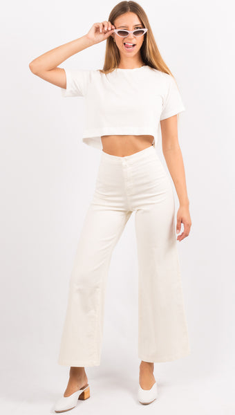 East N' West Label White Crop Tee